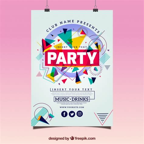 design poster reuni geometric party poster template vector free download
