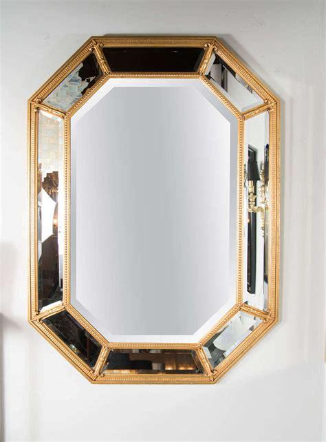 mid century modern mirrors mid century modern gilt mirror with inset beveled panels