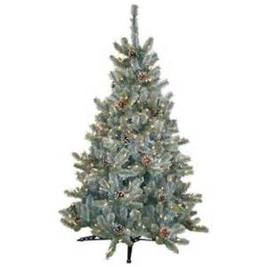 home depot artificial trees general foam 4 5 ft pre lit siberian frosted pine