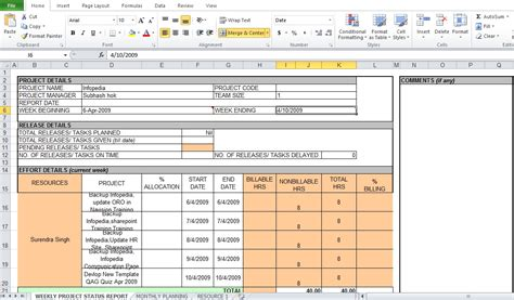 Monthly Project Status Report Template Excel weekly project status report template excel tmp