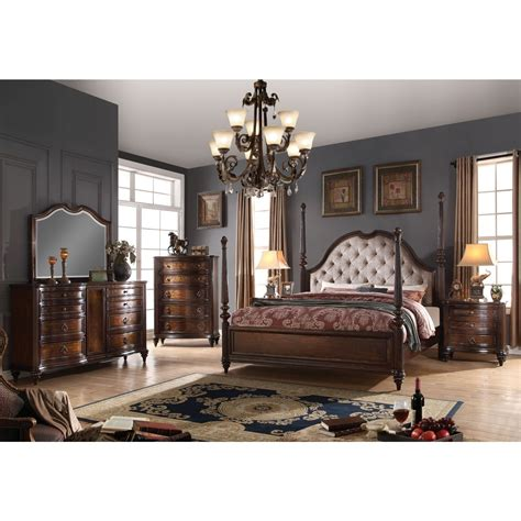 Nightstand Size by 4pc Cal King Size Bedroom Set Walnut Traditional