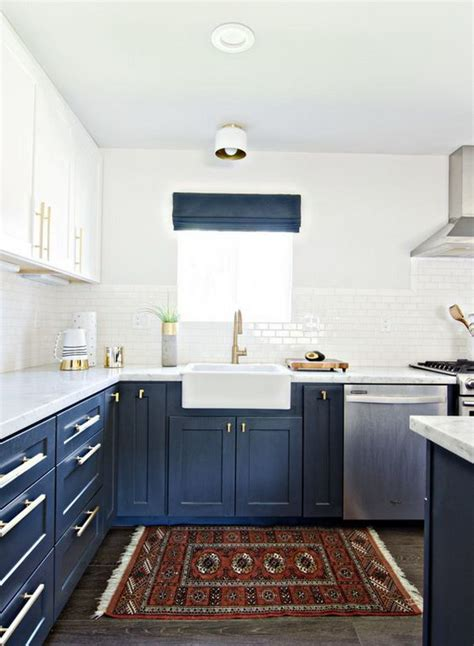 White And Blue Kitchen Cabinets Stylish Two Tone Kitchen Cabinets For Your Inspiration Hative