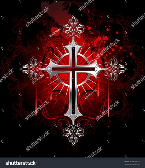 black and red christian cross jewelry gothic silver cross on black stock vector 93079582