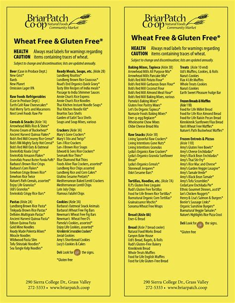 Gluten Free Pantry List by Special Diet Foods Briarpatch Co Op