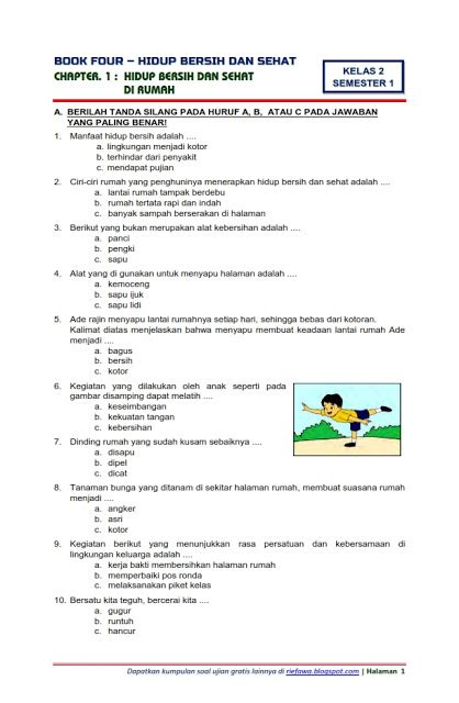 Tema 4 Kelas 2 Hidup Bersih Dan Sehat Revisi 2017 Soal Tematik Kelas 2 Tema 4 Hidup Bersih Dan