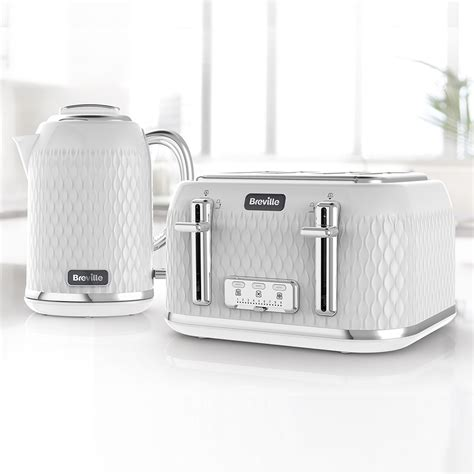 White Kettle And Toaster Sets Curve Jug Kettle And Toaster Set White And Chrome Curve