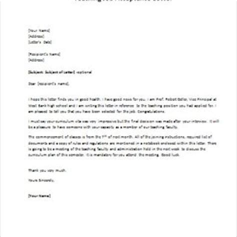 Acceptance Letter For Faculty Position Reasons For Joining The Essay
