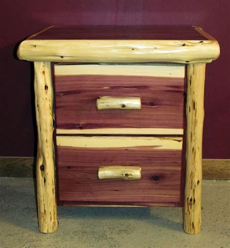Red Cedar Juniper Log Night Stand 2 Drawer Barn Wood Furniture Rustic Furniture Log » Home Design 2017