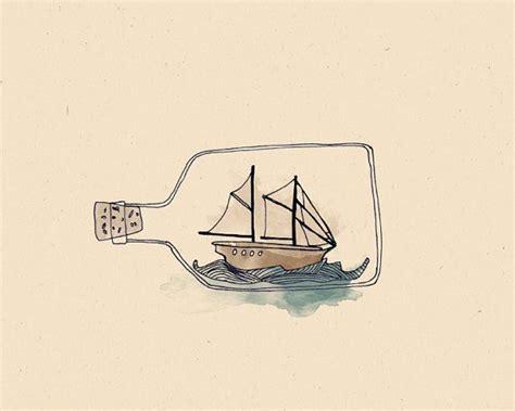minimalist boat drawing ship in a bottle illustration print