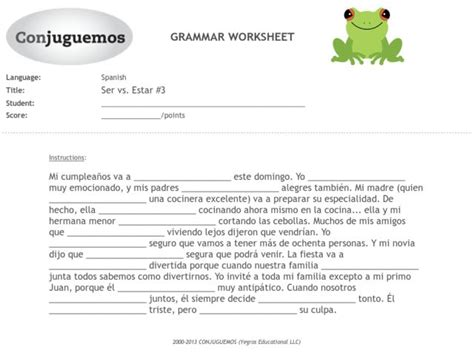 Ser Estar Worksheet Answers by Ser Vs Estar Worksheet Lesupercoin Printables Worksheets
