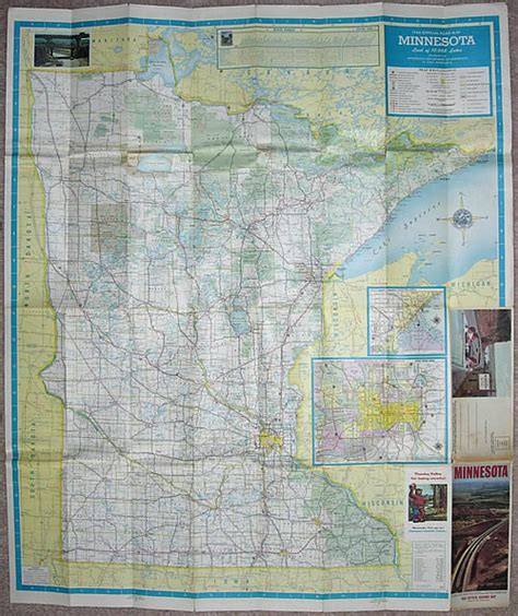Route Drawer Map by 1964 Official Road Map Minnesota