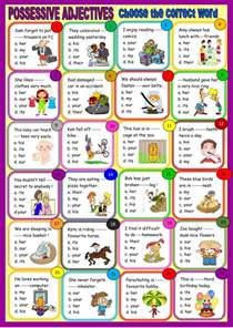 possessive adjectives multiple choice interactive worksheet