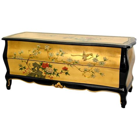 Oriental Furniture Gold Leaf Flat Screen Tv Cabinet Ebay