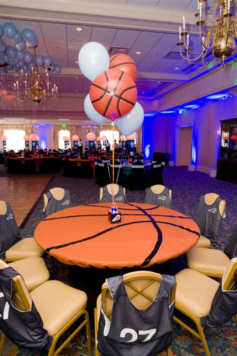 basketball themed decorations basketball and soccer themed bar mitzvah