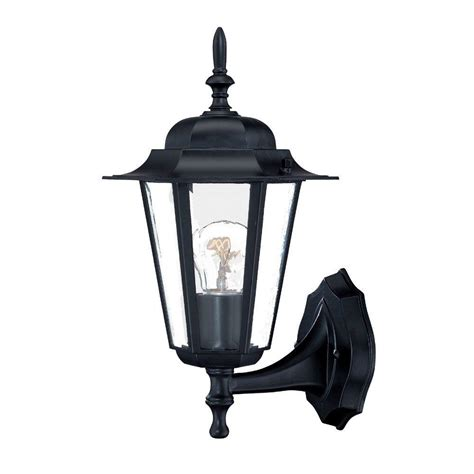 home depot exterior light fixtures acclaim lighting camelot collection 1 light matte black outdoor wall mount fixture 6101bk the