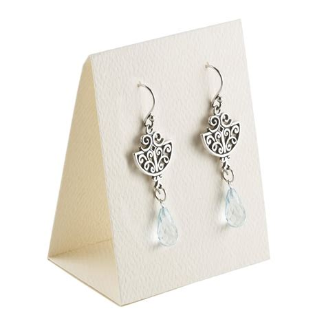 earring card template silhouette ivory textured paper earring tent card