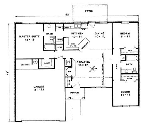 Three Bedroom Bungalow House Plans by Floor Plan 3 Bedroom Bungalow House House Design Plans