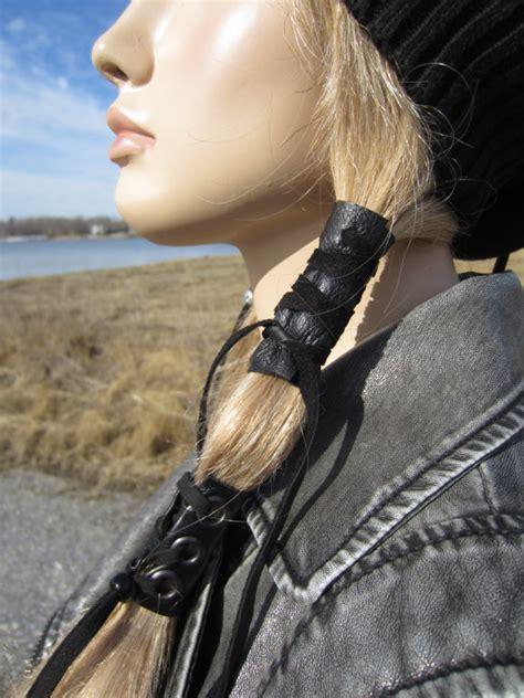 how to make a leather ponytail holder ehow black leather hair wrap ponytail holder hair jewelry boho