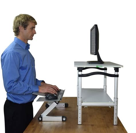 computer keyboard stand for lift monitor stand w keyboard mouse tray
