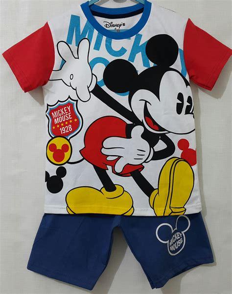 Setelan Mickey Baju Fashion Lokal setelan mickey mouse merah biru 1 6 grosir eceran baju anak murah berkualitas