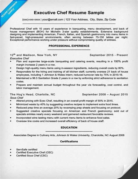 culinary resume template chef resume exle resume cover letter