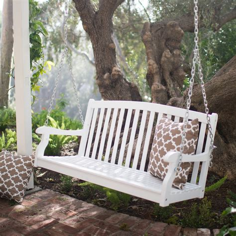 poarch swing coral coast pleasant bay white curved back porch swing