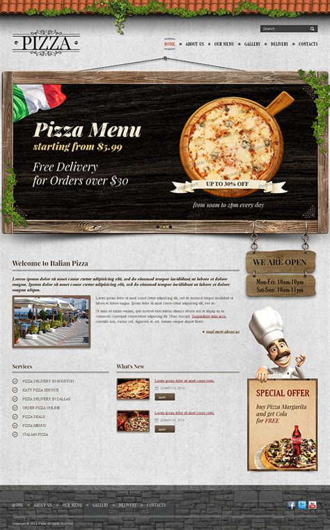 templates for pizza website pizza delivery twitter bootstrap html template on behance