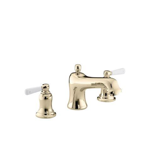 bathroom faucets white porcelain handles kohler bancroft deck mount bath faucet trim with white