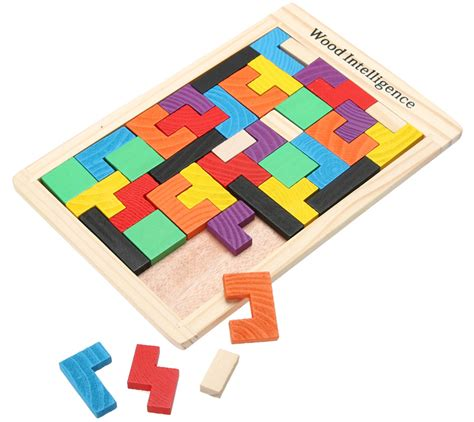 Puzzle Kayu Tangram mainan puzzle tangram tetris multi color