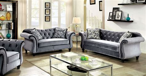 furniture of america living room collections jolanda button tufted gray fabric sofa set