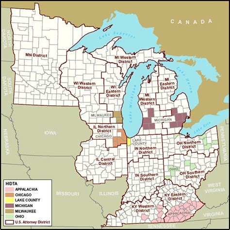 map of us showing great lakes organized crime enforcement task region