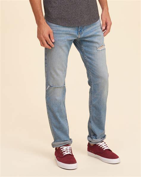 hollister light wash jeans hollister skinny jeans in blue for men lyst