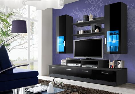 black wall units for living room black high gloss wall unit toledo 3 concept muebles