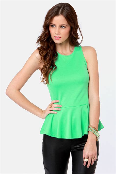 mint green top peplum top sleeveless top 30 00