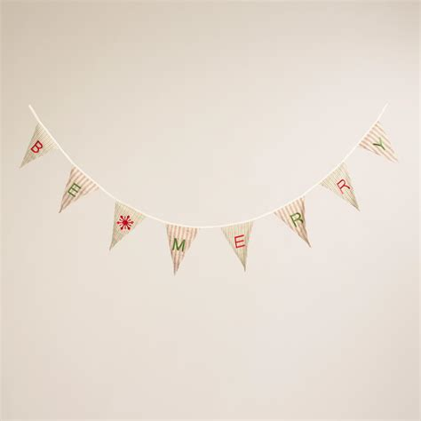 flags of the world garland pinstriped fabric quot be merry quot flag garland world market