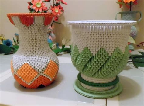 3d Vase Origami - 3d origami vase and urn by dfoosdc on deviantart