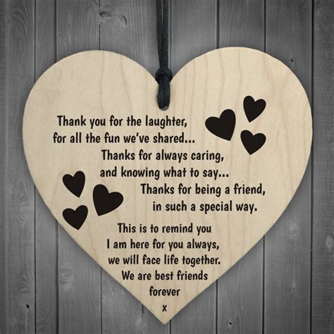 thank you letter to friend for birthday gift friendship sign best friend plaque gift shabby chic wood