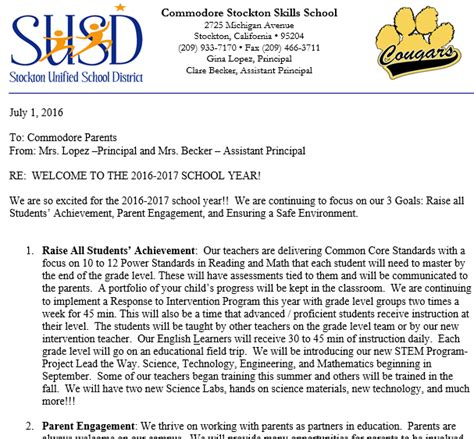 Parent Letter For New School Year Commodore Stockton Skills Elementary Homepage