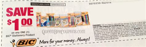 Printable Stationery Coupons | hot 1 off bic stationary product coupon august 4 smart