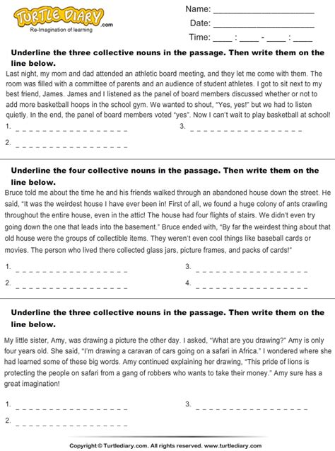 Collective Nouns Worksheets For Grade 6 by Worksheets