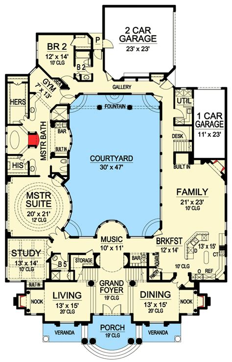 courtyard plans luxury with central courtyard 36186tx architectural