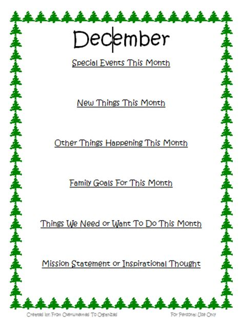 december family goals printable and december goals from overwhelmed to organized
