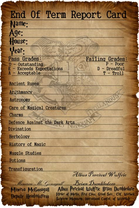 card template harry potter hogwarts report card by captainjackharkness on deviantart