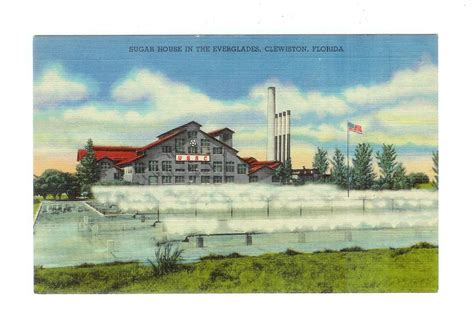Sugarhouse Post Office by Linen Postcard Sugar House In The Everglades Clewiston
