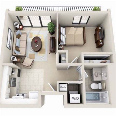 small house 3d plans beautiful 3d small house floor plans one bedroom on budget home design pinterest