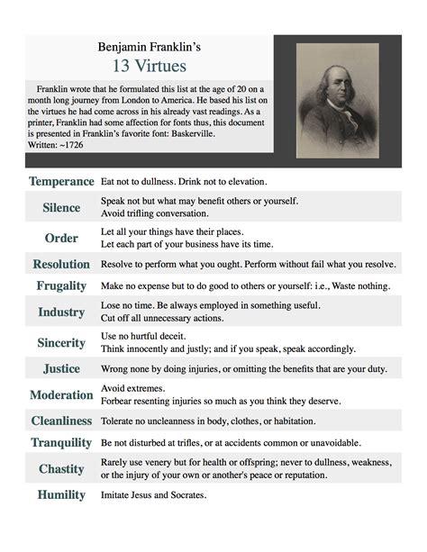 benjamin franklin biography printable benjamin franklin s 13 virtues printable by asht0n112358