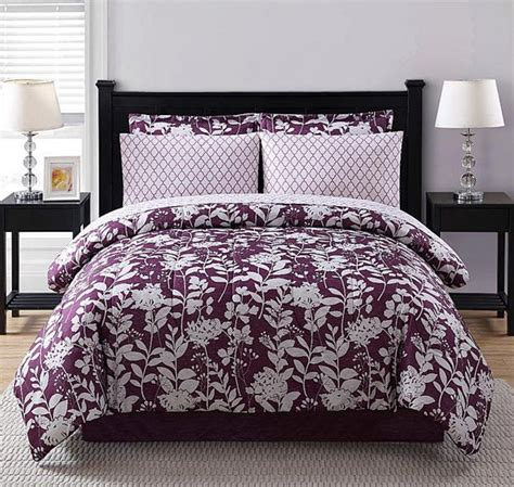 full bedroom comforter sets purple white floral geometric 8 piece comforter bedding