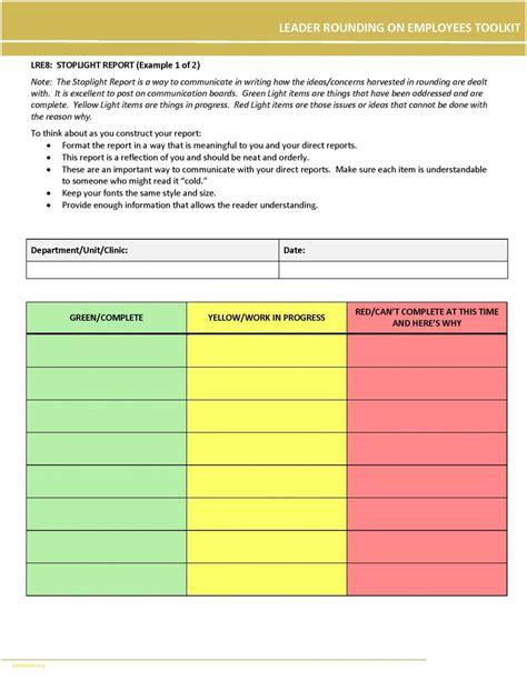 Traffic Light Report Template Word