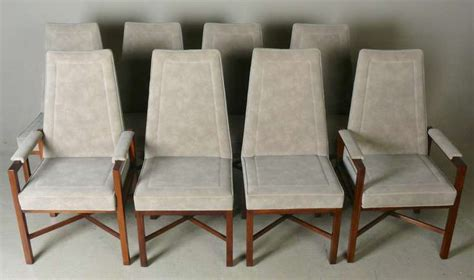 suede dining room chairs set of 8 dunbar rosewood and suede dining chairs at 1stdibs