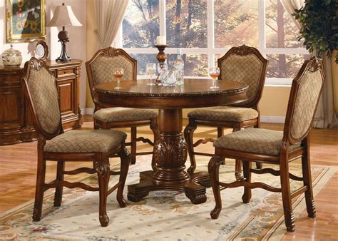 acme acme dresden 5 pc round counter height dining table set in acme chateau de ville 5 pc counter height dining set